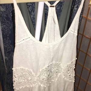 Free People Lace Cut Out Tank Top
